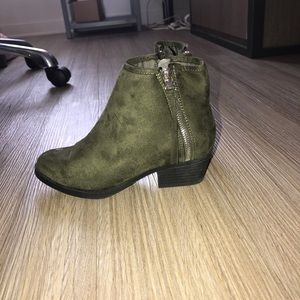 army green booties NWOT